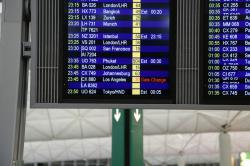 香港国際空港 出発掲示板