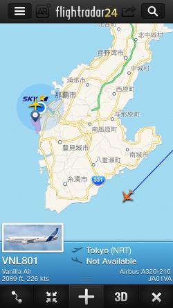 Flightradar24でバニラエア機を追跡1