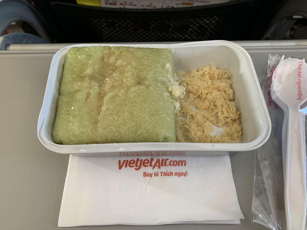ベトジェットエア機内食 豚肉入り蒸しケーキ
