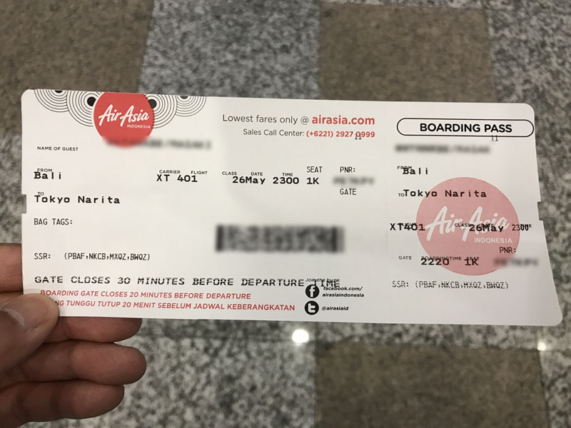 エアアジアX 搭乗券