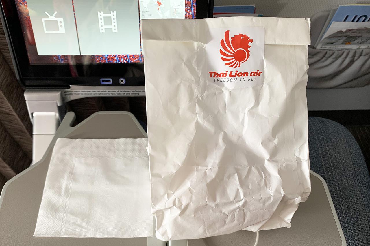タイライオンエア 軽食の入った袋