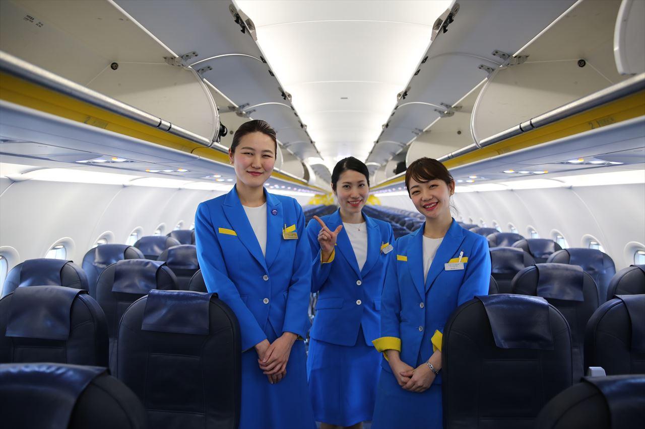 バニラエア 函館最終便の客室乗務員さん