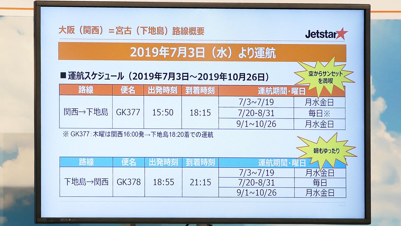関西-下地島線 運航スケジュール