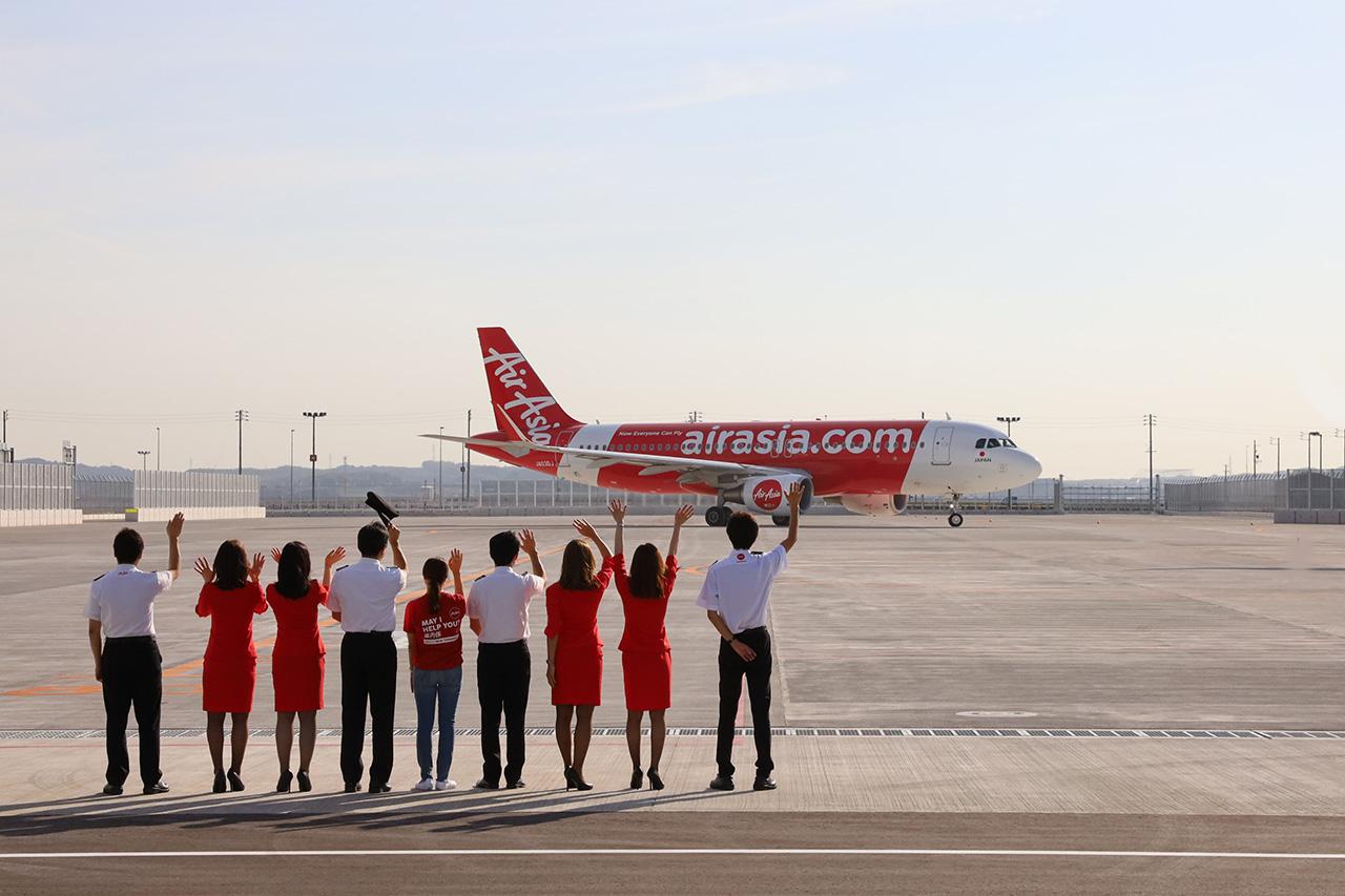 エアアジアDJ1便が札幌に向けて出発